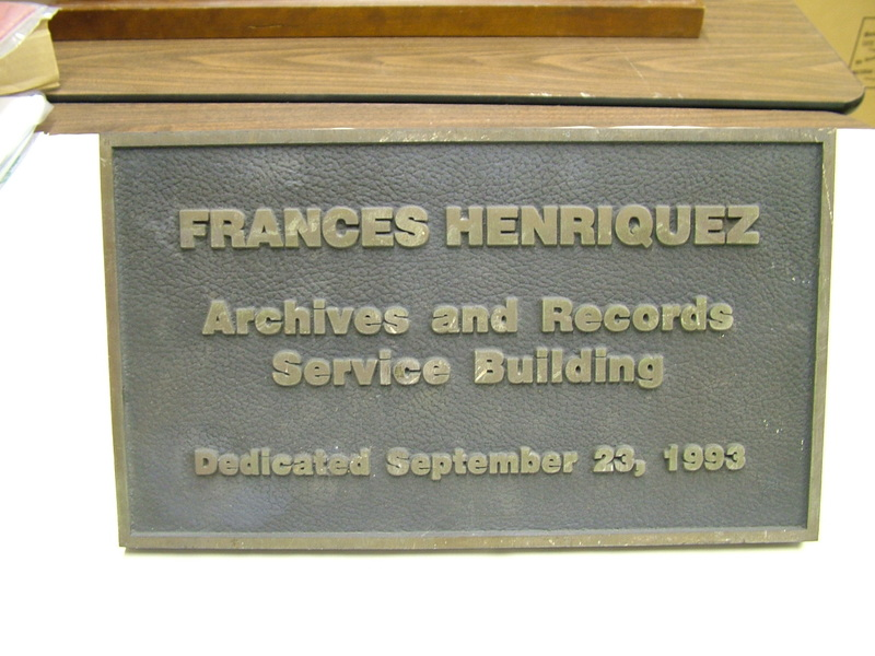 Frances Henriquez Archives and Records Service Building Plaque