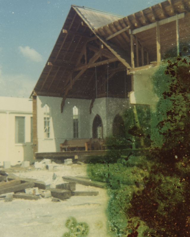 A picture of the chapel in its transition to Hammock Park in 1974