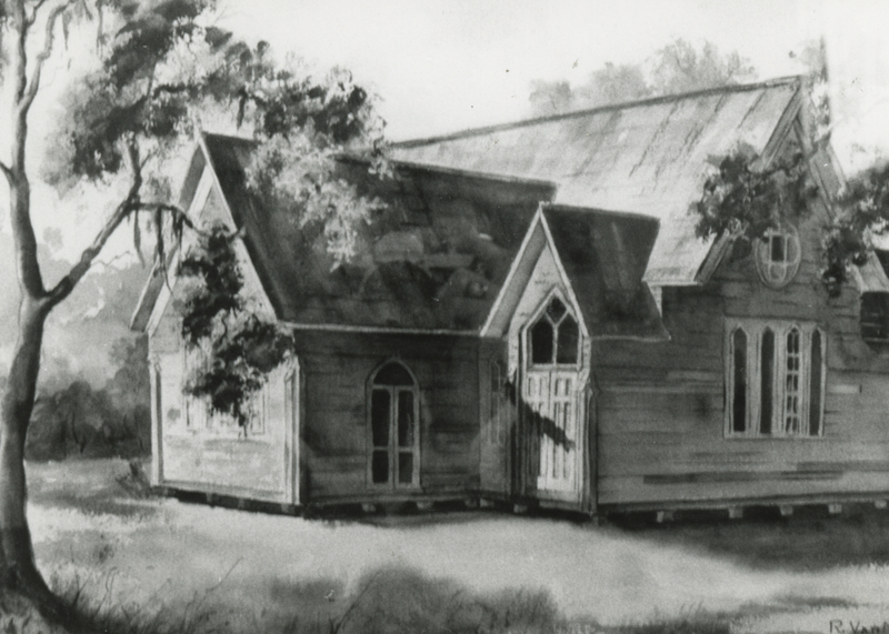 A preliminary drawing of what the church would look like upon construction in 1878