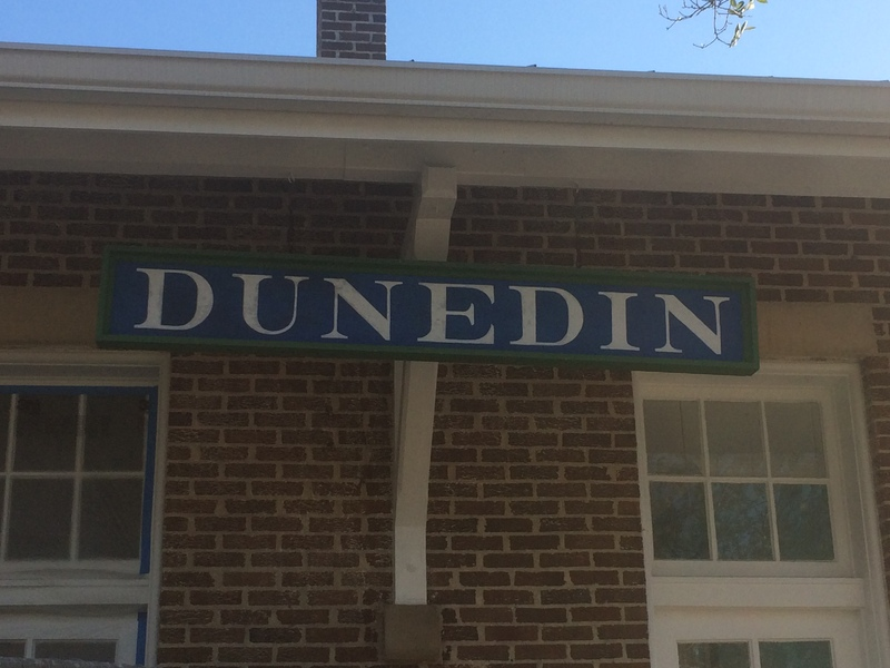 A classic Dunedin railroad sign that adorns the outside of the Dunedin History Museum