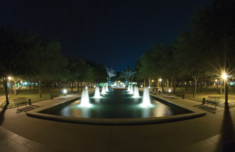 MLK Plaza Fountain at Night