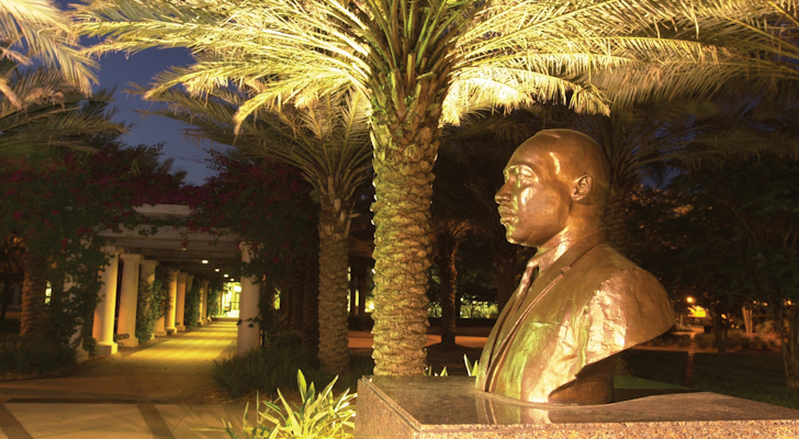 MLK Bust at Night